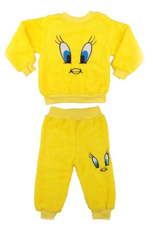 SİMİSSO - Kız Çocuk Pelüş Pijama Takımı   Sarı
