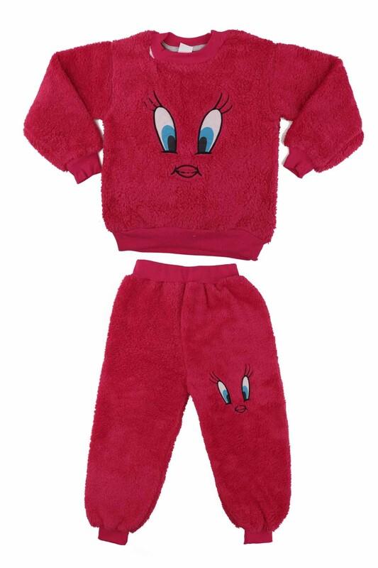 SİMİSSO - Kız Çocuk Pelüş Pijama Takımı   Fuşya