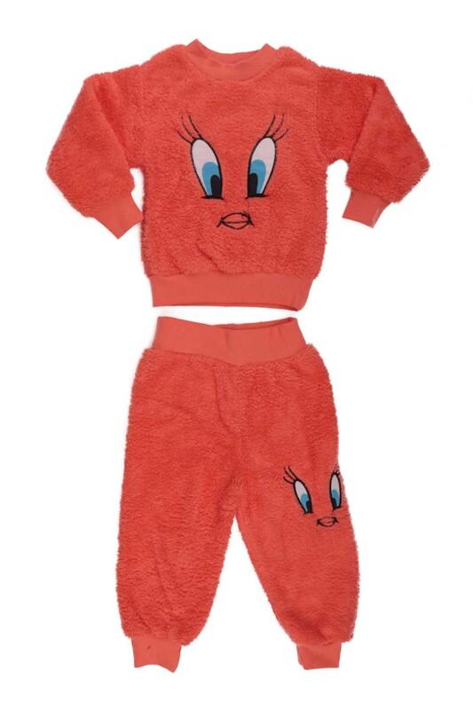 SİMİSSO - Kız Çocuk Pelüş Pijama Takımı   Turuncu