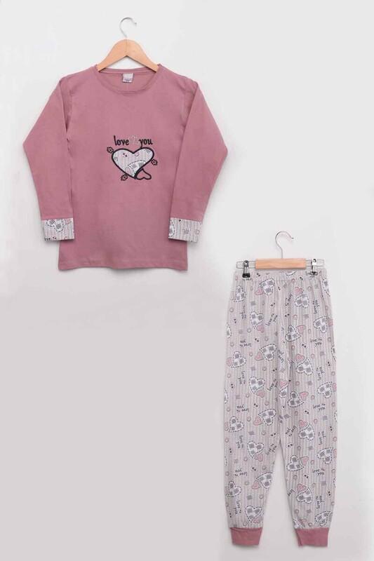 SİMİSSO - Kalp Baskılı Kız Çocuk Pijama Takımı | Gül Kurusu
