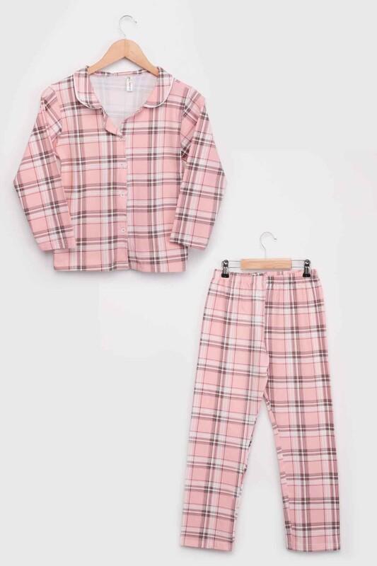 SİMİSSO - Kız Çocuk Uzun Kollu Gömlek Pijama Takımı 8003   Yavru Ağzı