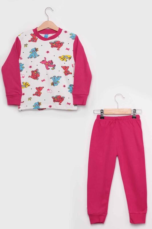 SİMİSSO - Gupse Kaplan Baskılı Uzun Kol Kız Çocuk Pijama Takım   Pembe