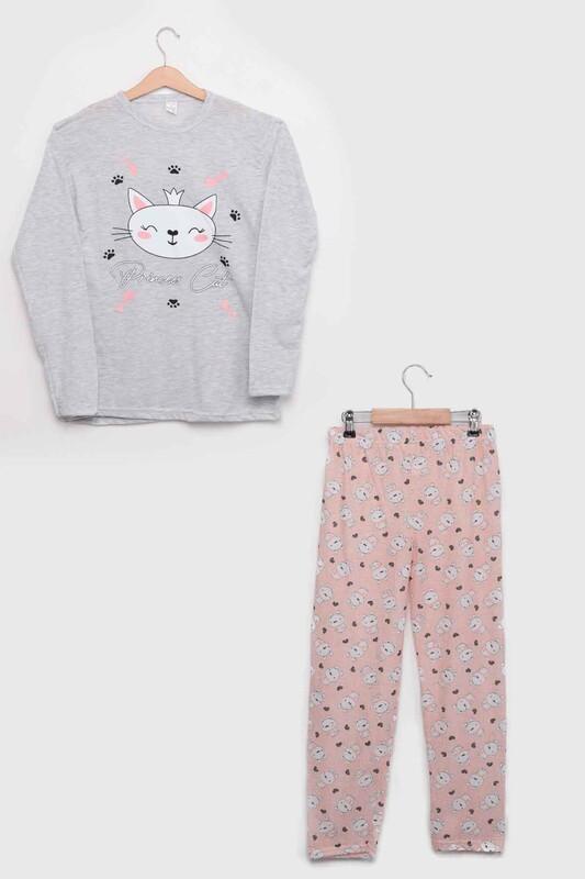 SİMİSSO - İtan Kedi Baskılı Kız Çocuk Pijama Takımı 1051   Gri