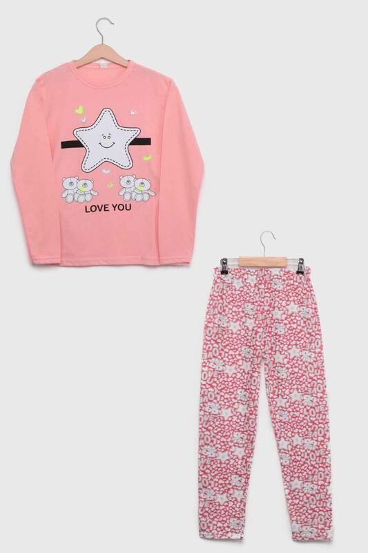 SİMİSSO - İtan Yıldız Baskılı Kız Çocuk Pijama Takımı   Pudra