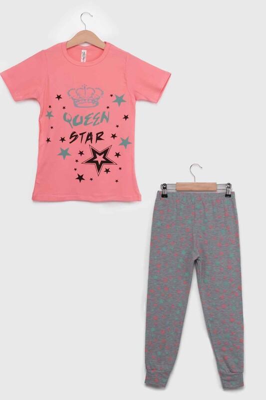 SİMİSSO - Yazı Desenli Kısa Kollu Kız Çocuk Pijama Takımı 8001   Yavru Ağzı