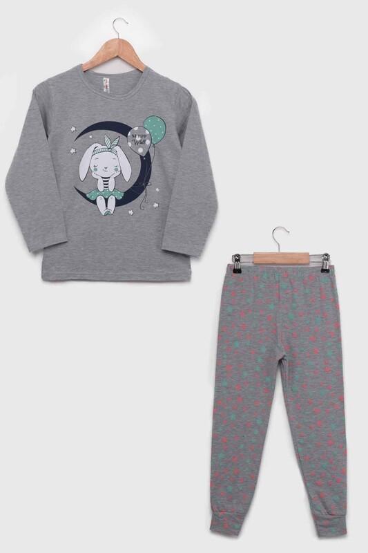 SİMİSSO - Tavşanlı Uzun Kollu Kız Çocuk Pijama Takımı 803   Gri