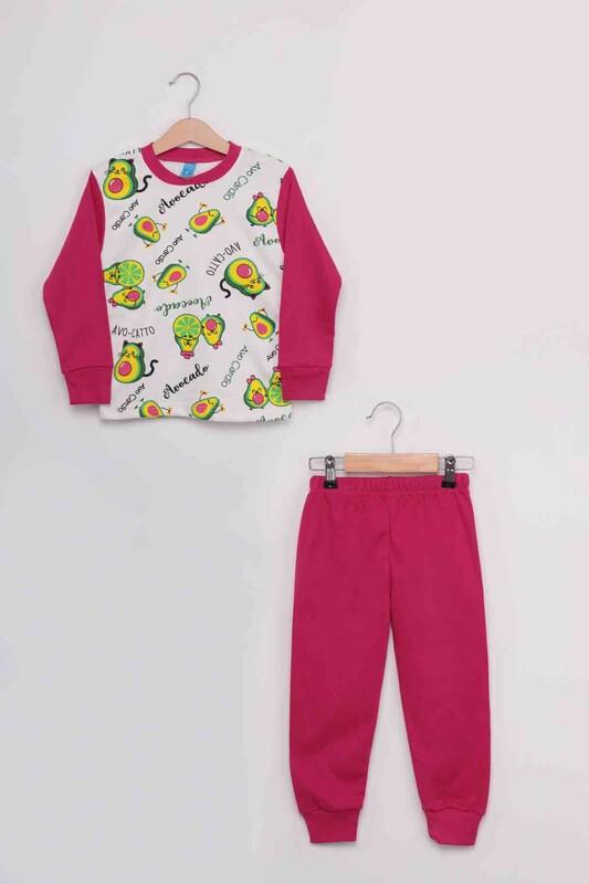 SİMİSSO - Gupse Avakado Baskılı Uzun Kol Kız Çocuk Pijama Takım   Pembe