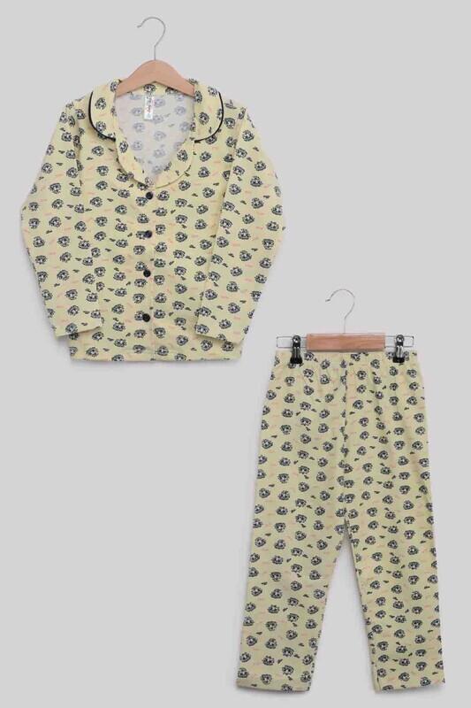 SİMİSSO - Gömlek Yaka Baskılı Kız Çocuk Pijama Takımı   Sarı