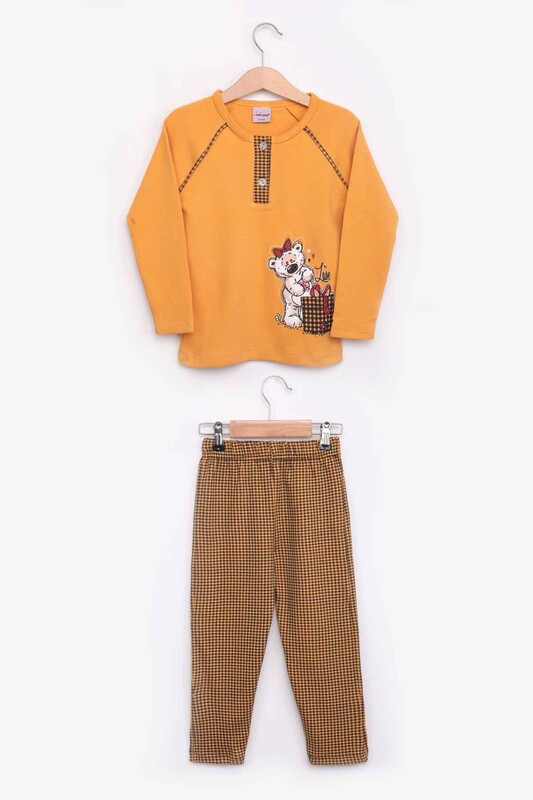 SİMİSSO - Ayıcık Desenli Kız Çocuk Pijama Takımı 9933 | Hardal