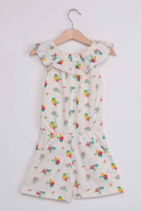 PAPİ KİDS - Çiçek Baskılı Kız Çocuk Tulum 002 | Beyaz