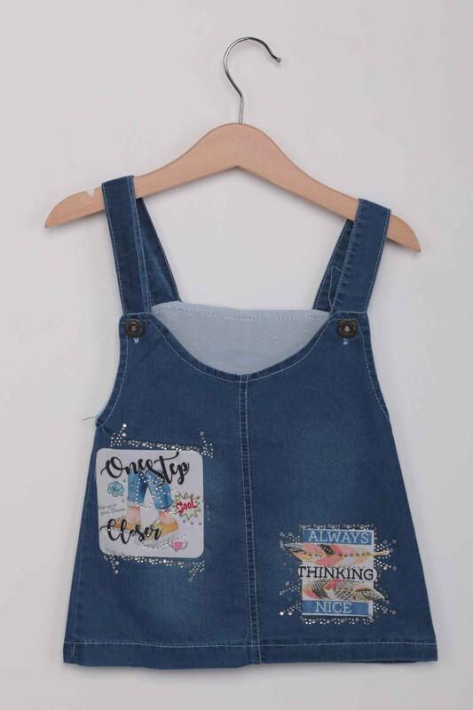 SİMİSSO - Taşlı İşlemeli Kız Çocuk Kot Salopet   Kot Mavi
