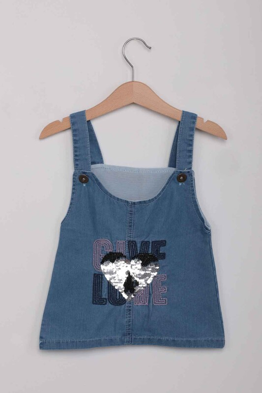 SİMİSSO - Pullu İşlemeli Kız Çocuk Kot Salopet   Kot Mavi