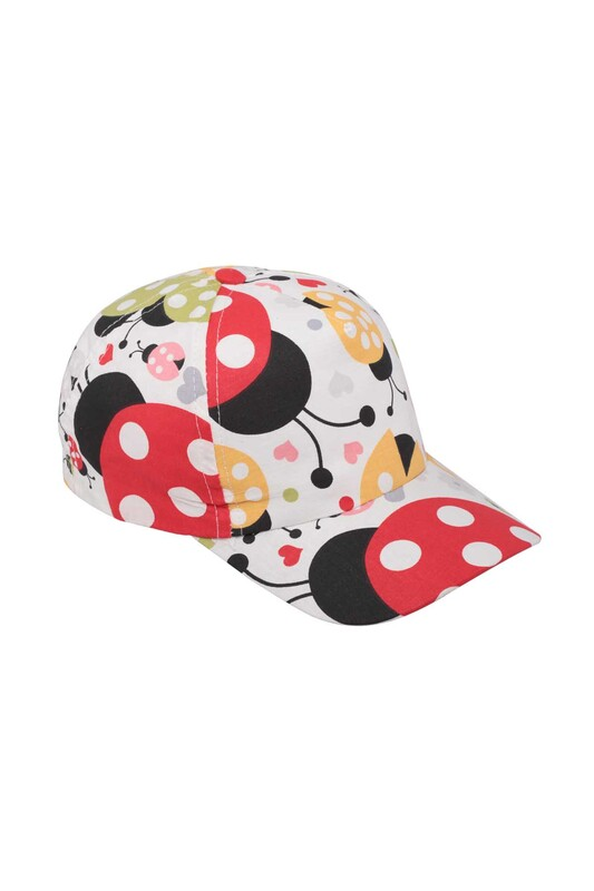 Fatih - Uğur Böceği Kız Çocuk Şapka   Beyaz