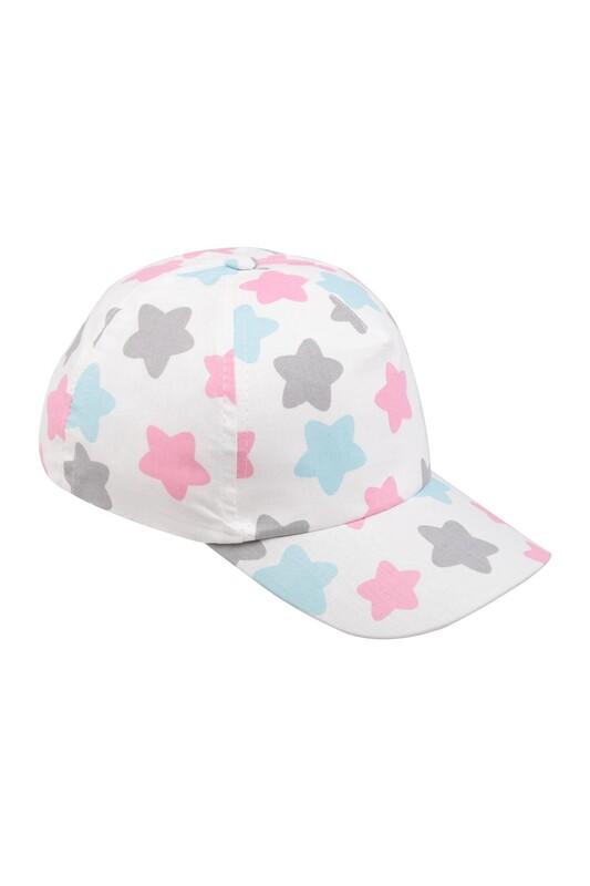 SİMİSSO - Yıldız Desenli Kız Çocuk Şapka Beyaz