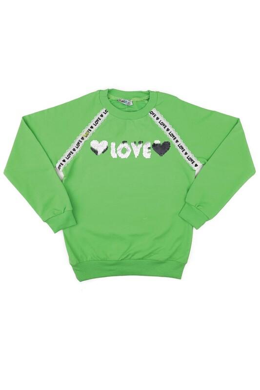 ALG - Yuvarlak Yakalı Pullu Kız Çocuk Sweat 79572 | Yeşil