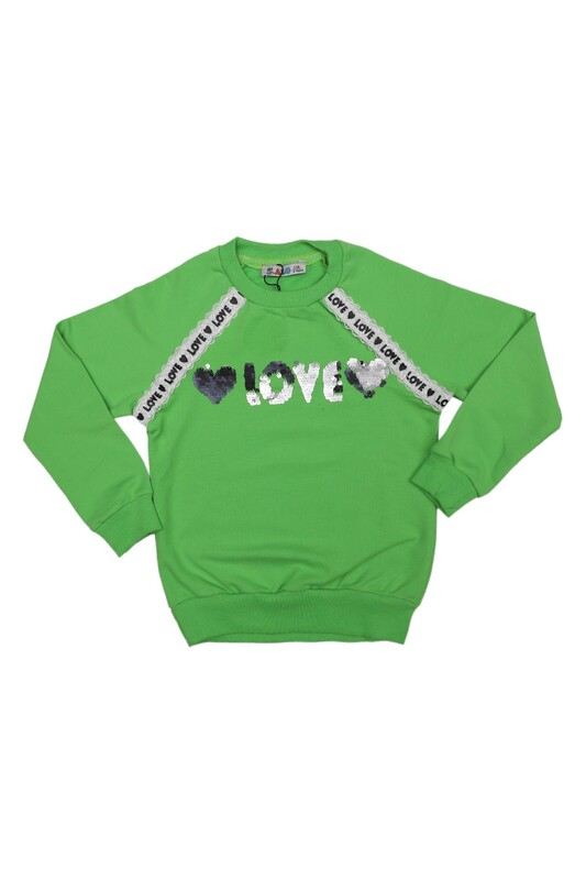 ALG - Yuvarlak Yakalı Pullu Kız Çocuk Sweat 69572 | Yeşil