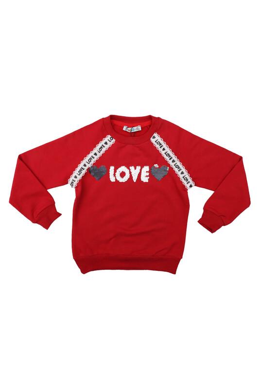 ALG - Yuvarlak Yakalı Pullu Kız Çocuk Sweat 69572   Kırmızı