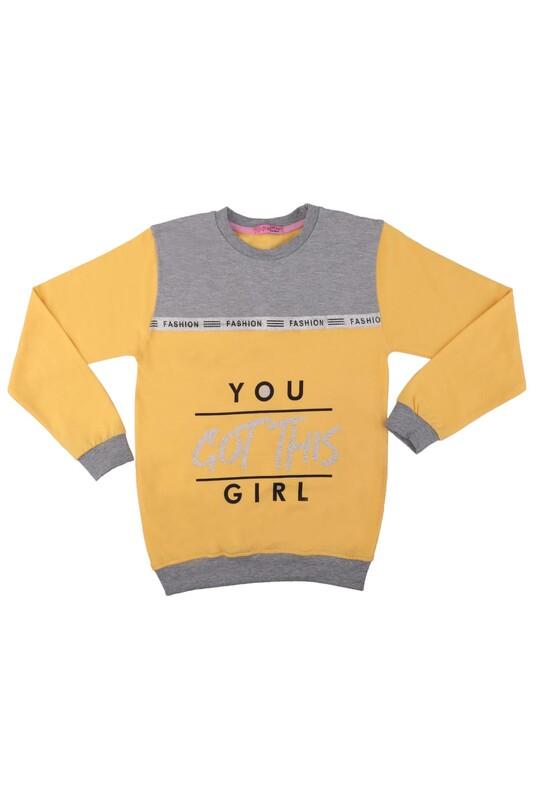 SİMİSSO - Fashion Yazı Baskılı Kız Çocuk Sweat 528   Sarı