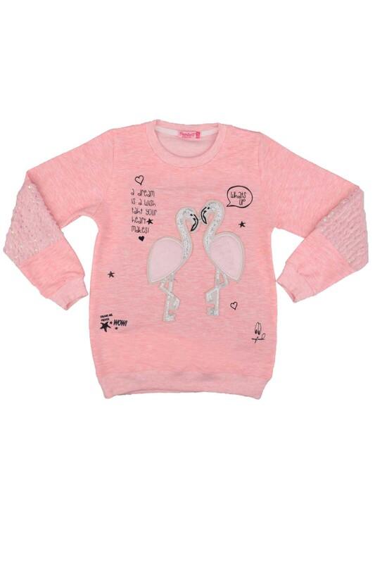 SİMİSSO - Flamingo Desenli Kız Çocuk Sweat 1515 | Pembe
