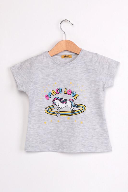 ALMİ - Çocuk Space Love Baskılı Tshirt | Gri