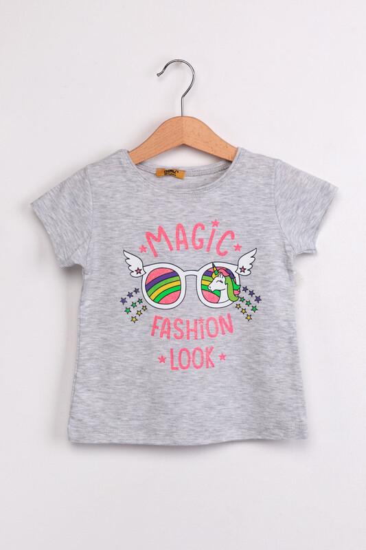 ALMİ - Çocuk Magıc Fashion Look Baskılı Tshirt | Gri