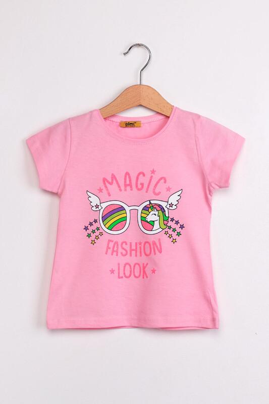 ALMİ - Çocuk Magıc Fashion Look Baskılı Tshirt | Pudra