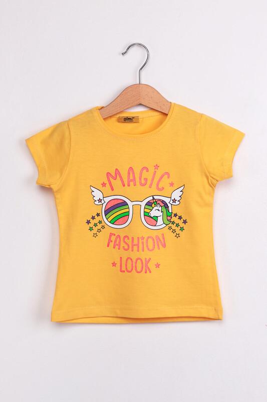 ALMİ - Çocuk Magıc Fashion Look Baskılı Tshirt | Sarı