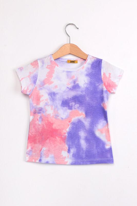 ALMİ - Çocuk Batik Baskılı Tshirt | Mor