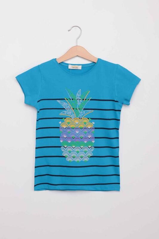 ALMİ - Ananas Baskılı Kız Çocuk Tshirt | Mavi