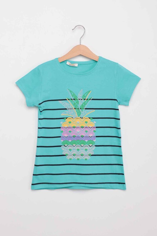 ALMİ - Ananas Baskılı Kız Çocuk Tshirt | Mint