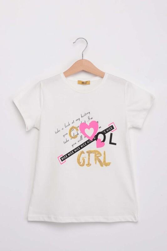 ALMİ - Baskılı Simli Kız Çocuk Tshirt | Krem