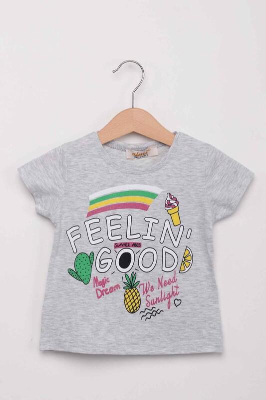 ALMİ - Dondurma Baskılı Kız Çocuk Tshirt | Gri