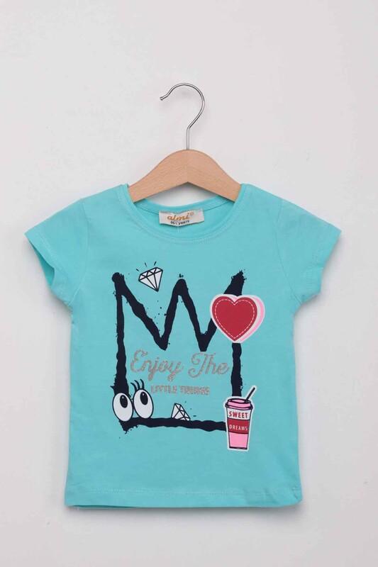 ALMİ - Kalp Baskılı Kız Çocuk Tshirt | Mint
