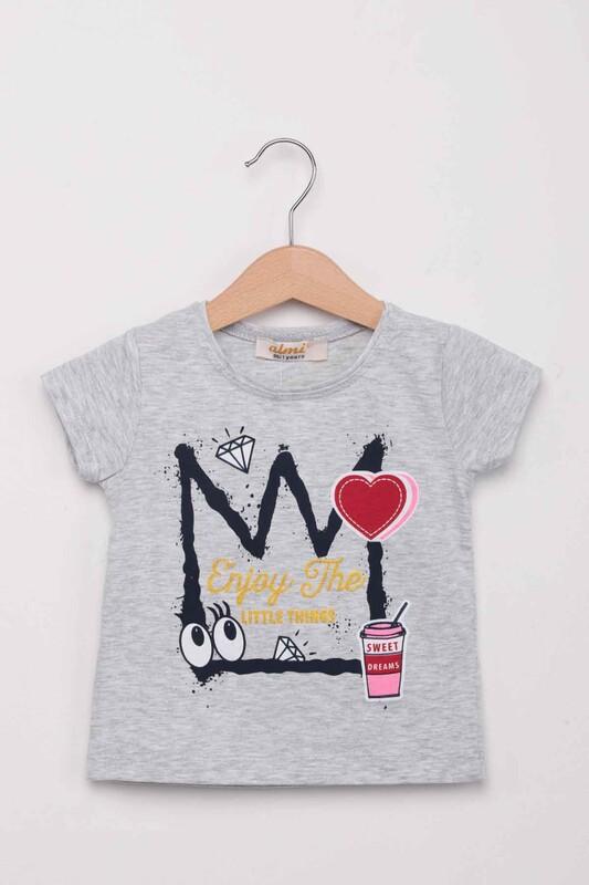 ALMİ - Kalp Baskılı Kız Çocuk Tshirt | Gri