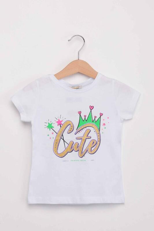 ALMİ - Cute Baskılı Simli Kız Çocuk Tshirt | Beyaz