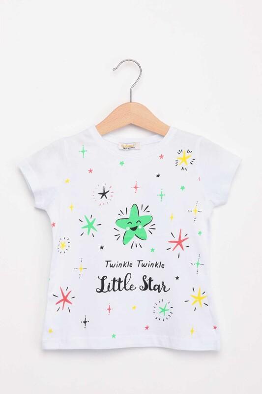 ALMİ - Little Star Baskılı Kız Çocuk Tshirt | Beyaz