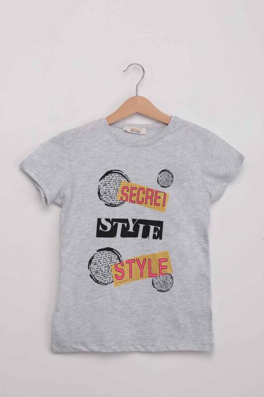 ALMİ - Scret Style Baskılı Kız Çocuk Tshirt | Gri