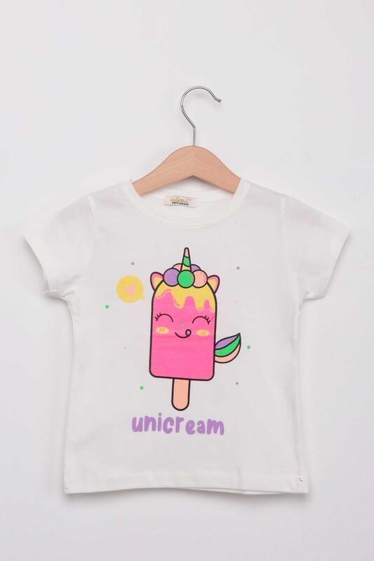 ALMİ - Unicream Dondurma Baskılı Kız Çocuk Tshirt | Krem