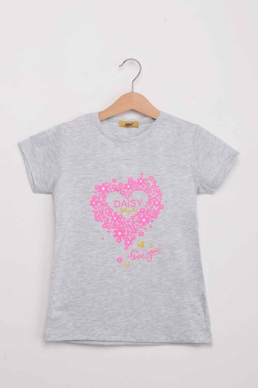 ALMİ - Daisy Style Baskılı Kız Çocuk Tshirt | Gri
