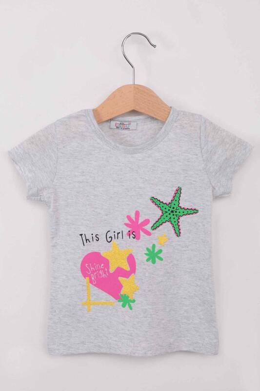 ESSU - Yıldız Baskılı Simli Kız Çocuk Tshirt | Gri