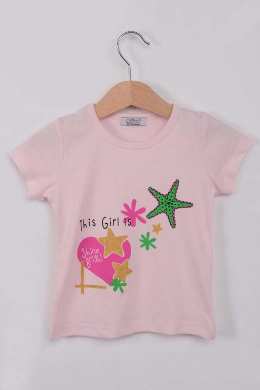 ESSU - Yıldız Baskılı Simli Kız Çocuk Tshirt | Pembe