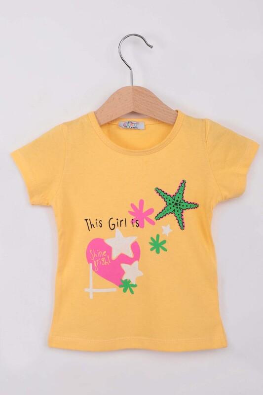 ESSU - Yıldız Baskılı Simli Kız Çocuk Tshirt | Sarı