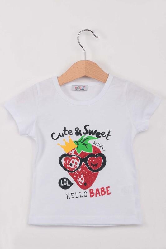 ESSU - Hello Baskılı Simli Kız Çocuk Tshirt | Beyaz
