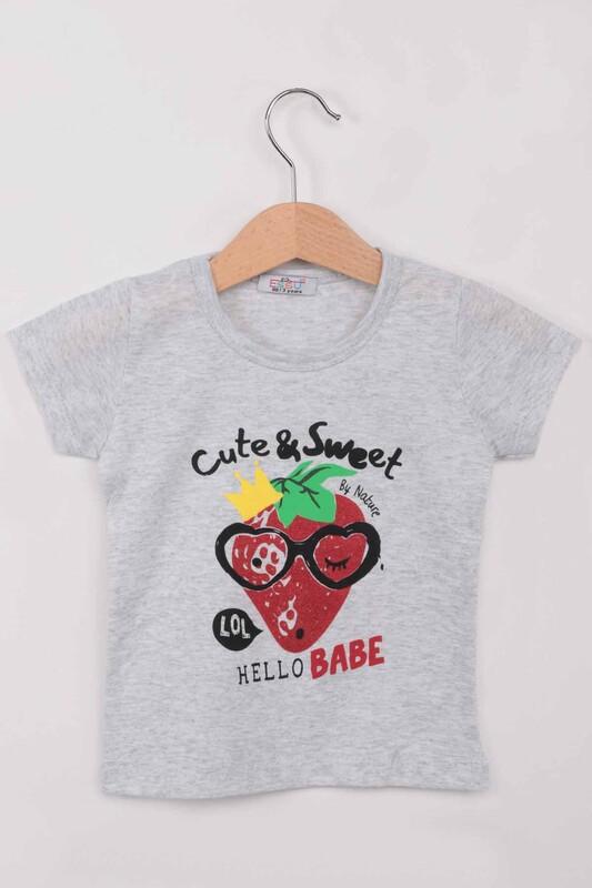 ESSU - Hello Baskılı Simli Kız Çocuk Tshirt | Gri