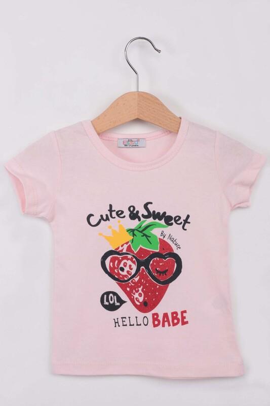 ESSU - Hello Baskılı Simli Kız Çocuk Tshirt | Pembe