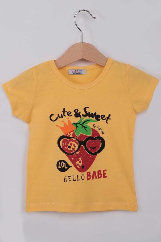 ESSU - Hello Baskılı Simli Kız Çocuk Tshirt | Sarı