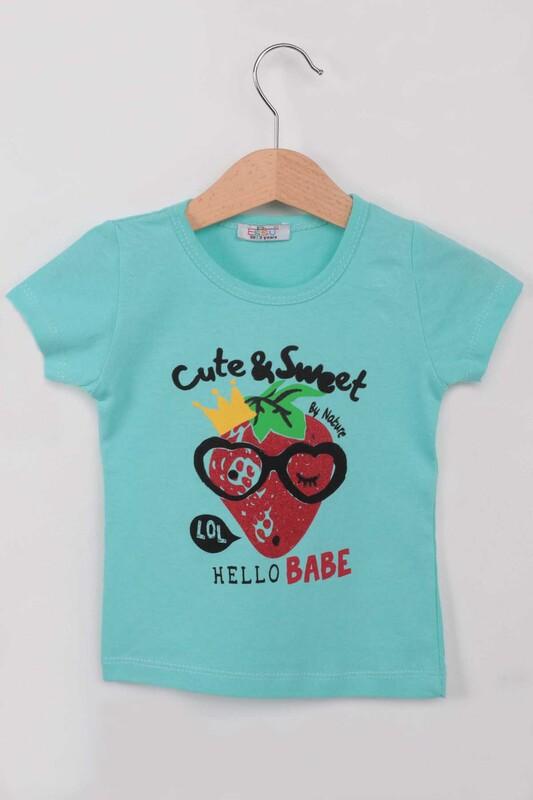 ESSU - Hello Baskılı Simli Kız Çocuk Tshirt | Su Yeşili