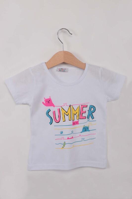ESSU - Summer Baskılı Simli Kız Çocuk Tshirt | Beyaz