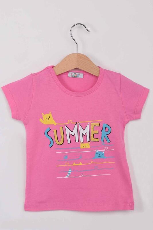ESSU - Summer Baskılı Simli Kız Çocuk Tshirt | Fuşya