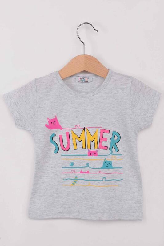 ESSU - Summer Baskılı Simli Kız Çocuk Tshirt | Gri